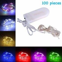 100 pcs ANEMEL Fairy Lights 2 M 20LED Xmas Bruiloft Decoratie Led Kerst Koper String Licht CR2032 Battery Operated
