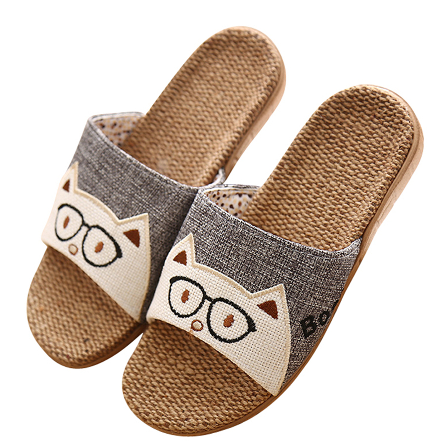 16cf1606 New 2017 Anti-slip Summer Indoor Slippers High Quality Flax Linen Home Shoes  Men Women