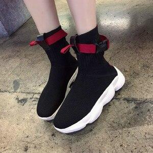 Image 5 - Swyivy 2019 ホット秋の女性のプラットフォームスニーカー靴下靴の白人女性新ヒップホップ黒のトップスニーカーオル