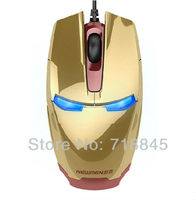 Factury Wholesale USB Iron Man Cool Fashion Gold Black Color Field Wired Mouse