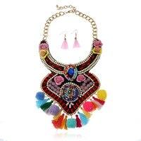 Bohemian Fashion Pendant Ethnic Charms India Choker Statement Maxi Necklaces Collare Crystal Enamel Silk Tassel Necklace