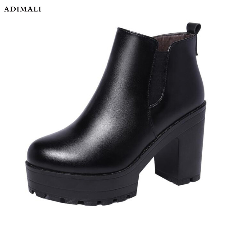 2017 Slip On Elastic Band Rubber Boots Winter Arrival Ankle Chelsea Boots Women Shoes Autumn Square Heel Female Footwear rasmeup women chelsea boots autumn winter elastic band ankle boots shoes low square heel martin boots vintage fashion boots