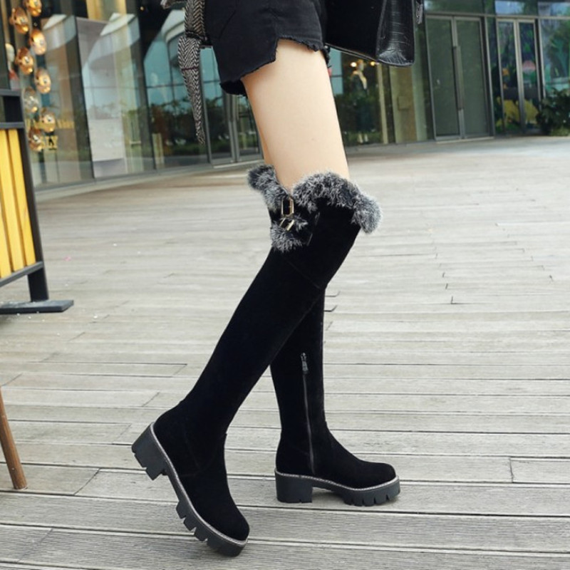 Plush Over The Knee Boots Women High Heels Shoes Suede Leather Winter Shoes Women Long Boots Black Warm Snow Boots Woman facndinll winter women snow boots leather fur warm plush shoes woman over the knee boots dress shoe fashion height russian boots page 4