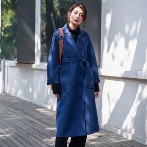 Image 3 - Irinaw901 nova chegada 2020 estilo clássico robe com cinto longo artesanal dupla face lã cashmere casaco feminino