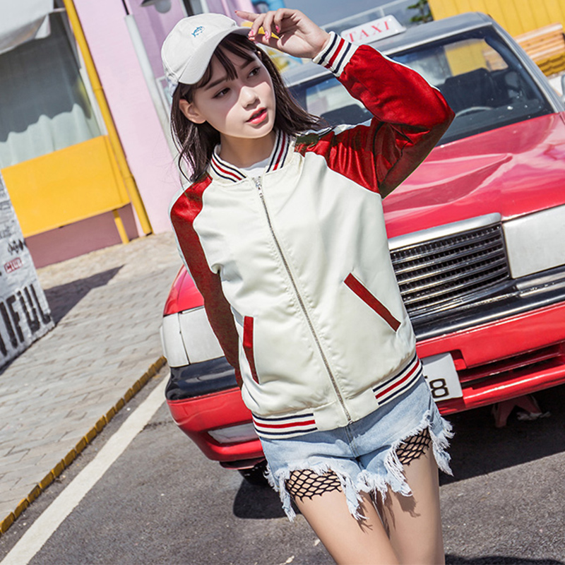New Harajuku Short Bomber   Jacket   Women Casual Contrast Color   Basic     Jacket   Female Zipper Coats Women's Windbreaker Outwear