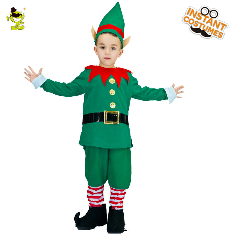 2018 New Design Boys Green Kids Elf Costumes Lovely Christmas Party Fancy Dress For Cosplay Costumes For Children Boys