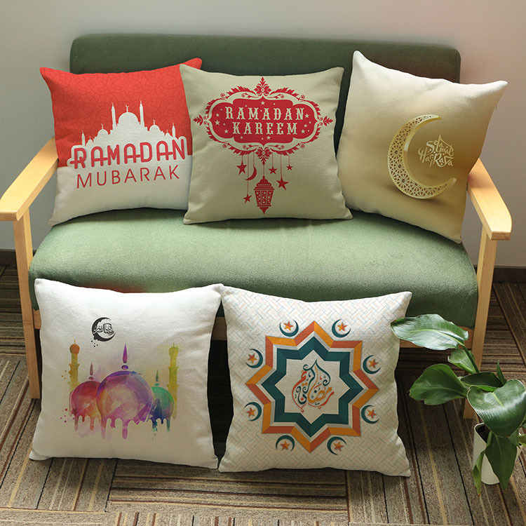 Islam Muslim Mandala Cushion Covers Middle East Ramadan Culture Art Cushion Cover Car Sofa Decorative Linen Beige Pillow Case