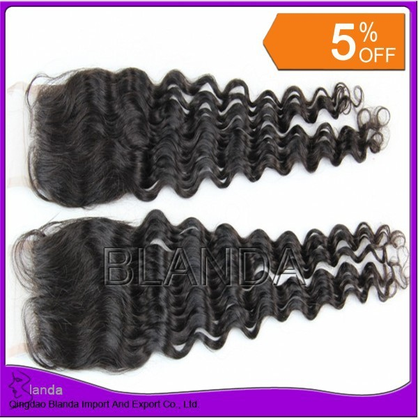 """Bleached knots top closure hair,lace closure loose wave 4""""*3.5"""",swiss lace,shipping free DHL"""