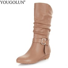 Low Wedges Heel Boots Women Autumn Winter Ladies Mid-Calf Boots A241 Fashion Woman Buckle Black Apricot Brown Round toe Shoes