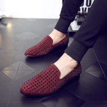 Rote Unterteile Männer | Top Qualität EU 39-43 Rote Untere Männer Schuhe Mode Löwenzahn Spikes Männer Müßiggänger Nieten Casual Kleid Schuhe Männer Wohnungen Schwarz