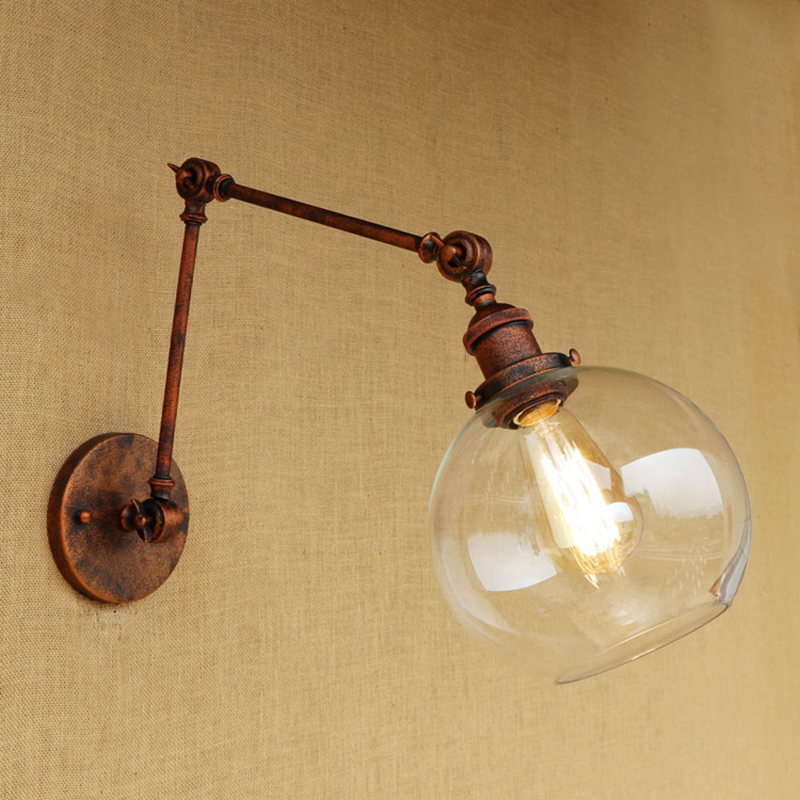 Retro Loft Wall lamp LED light glass lampshade free adjust swing arm sconc for living room