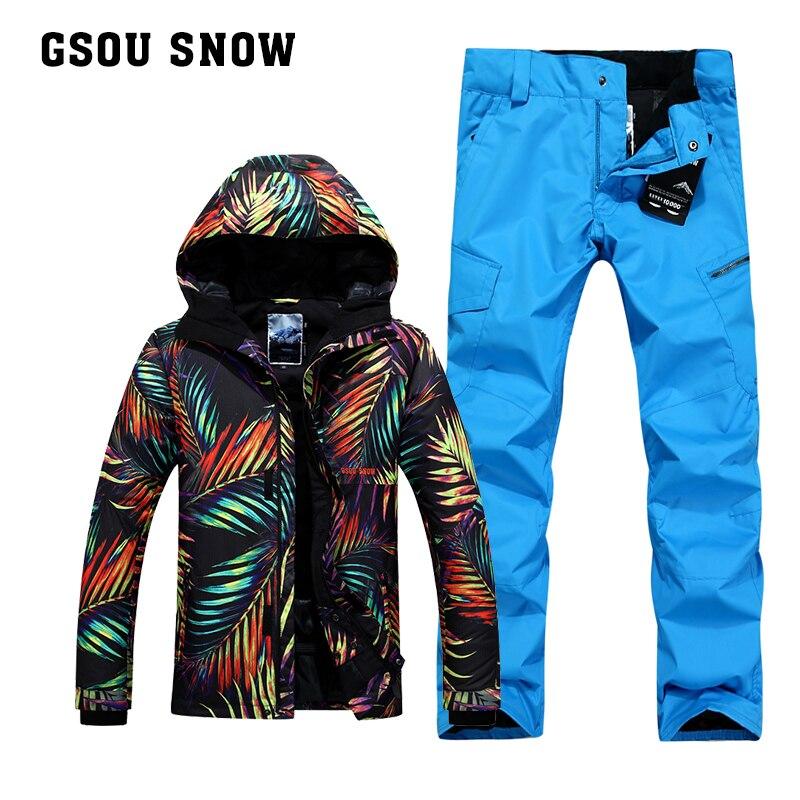 GSOU NEIGE Hommes de Simple Double Conseil de Ski En Plein Air D'hiver Épaississement Chaud Coupe-Vent Imperméable Veste de Ski Ski Pantalon Taille XS-XL
