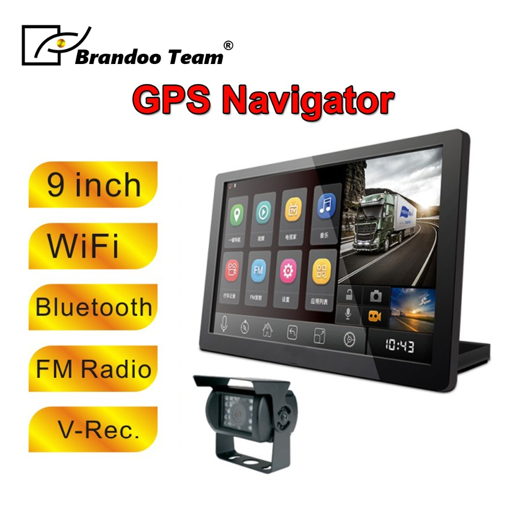 720P 9 inch WiFi Bluetooth Display Truck Android GPS Navigator with 2 Way Car Camera Recording For Bus Truck Large Car Used