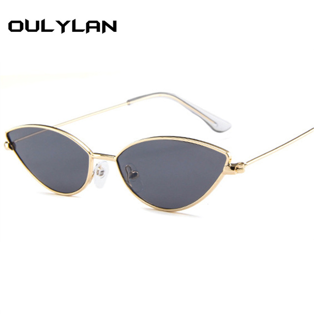 2834f96d4ee4c Oulylan Cat Eye Sunglasses Women Men Fashion Brand Designer Retro Small  Metal Frame Black Red Cateye Vintage Sun Glasses UV400