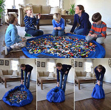 Portable Kids Toy Storage Bag and Play Mat Lego Toys Organizer Bin Box XL