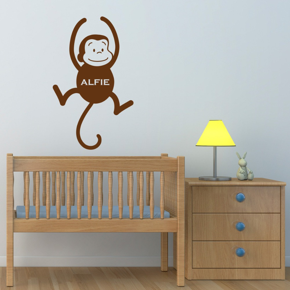 Us 3 75 25 Off Personalised Monkey Wall Sticker Jungle Kid Room Cute Animal Art Transfers Childrens Nursery Stick T170319 In