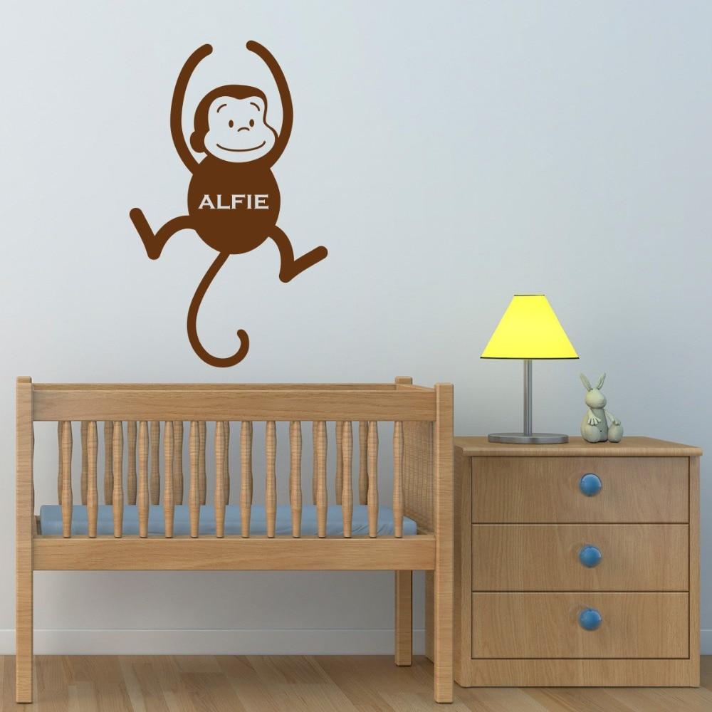 Personalised Monkey Wall Sticker Jungle Kid Room Cute Animal Wall Art Wall Transfers Childrens Nursery Wall Stick T170319