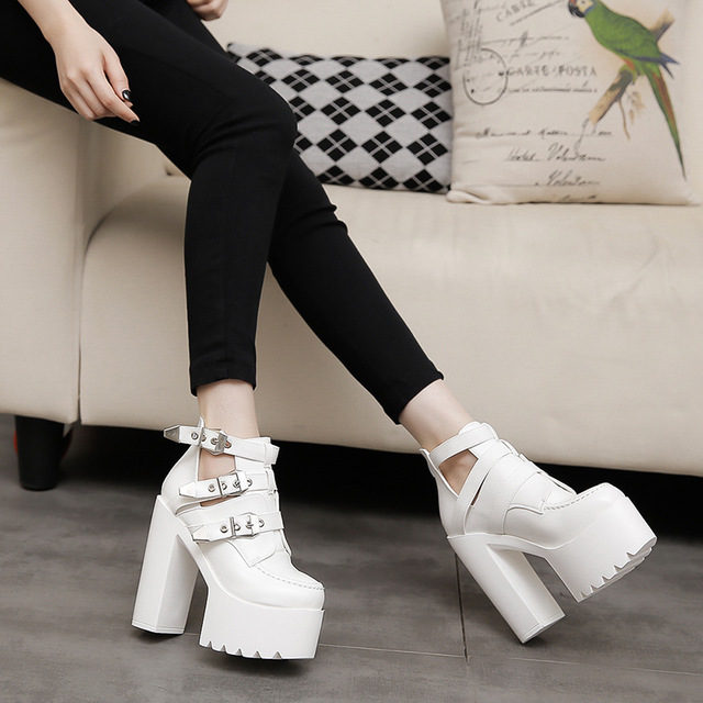 PLadies Zapatos Mujer Martin Fashion Chaussure Female Punk Female Platform Chunky High Heels 14cm Belt Buckle Shoes Woman Pumps