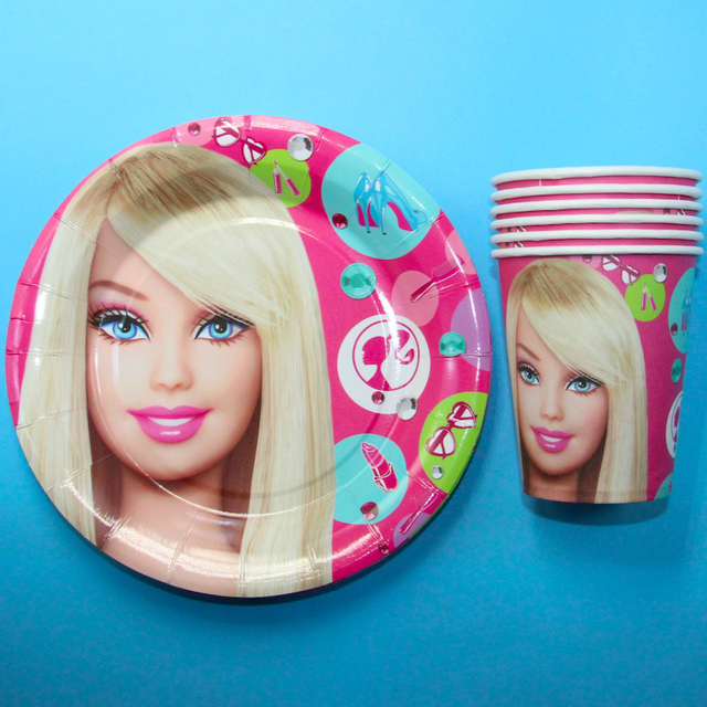 Barbie doll Theme printed paper cups +7inch paper plates tableware for birthdayevent party  sc 1 st  AliExpress.com & Barbie doll Theme printed paper cups +7inch paper plates tableware ...
