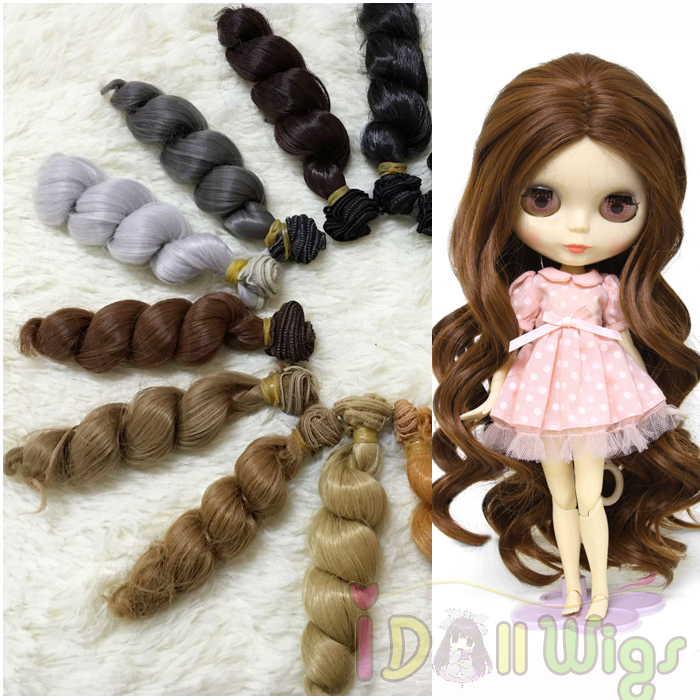 Wholesale 5pcs/lot 15*100cm Big Spiral Curly Doll Hair Wefts For 1/3 1/4 1/6 Bjd Diy Doll Wigs,wavy Hair Extension On Sale Toys & Hobbies Dolls Accessories