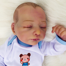 Rich Painting 45cm Silicone vinyl Reborn Sleeping Baby Doll Kids Playmate Rich Expression Baby Soft Bouquets Bebe Reborn Toys
