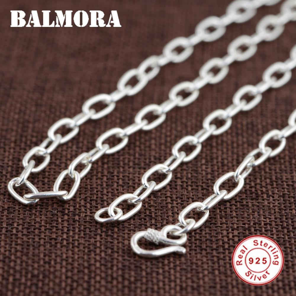 BALMORA 100 Real 925 Sterling Silver Chains Necklaces for Men Silver Necklace 20 32 inch Chain