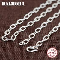 BALMORA 100% Real 925 Sterling Silver Chains Necklaces for Men Silver Necklace 20 32 inch Chain Jewelry Accessories Gift 0061