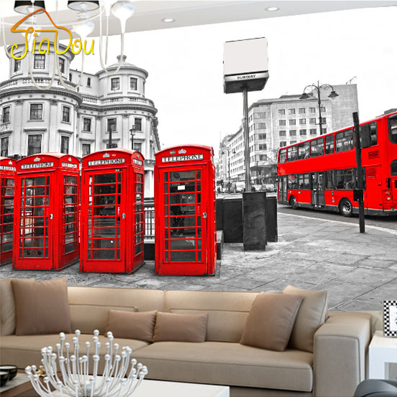 Custom London Red Bus City View Wallpaper Personality Retro Cafe Living  Room Background 3D Wall Murals