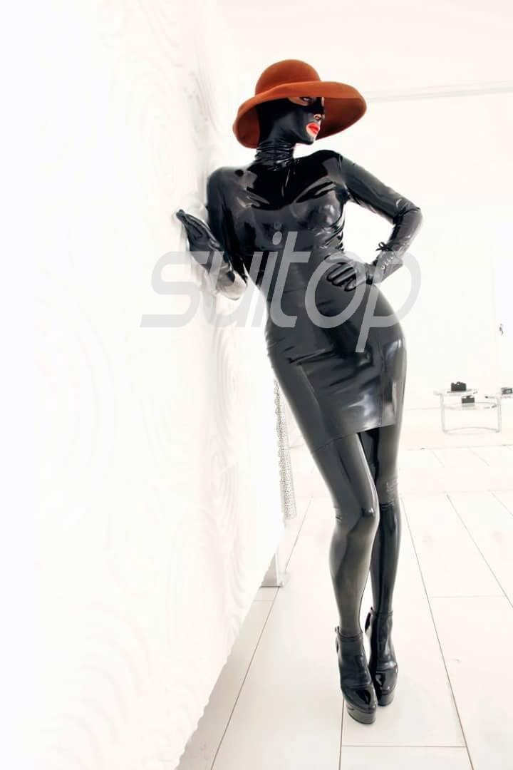 Suitop nature Bronze latex Catsuit Dress hoods with back zip to crotch with feets and gloves