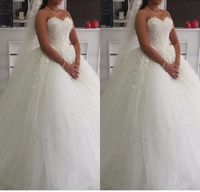 Hot Princess Ball Gown Sweetheart Wedding Dresses Floor Length White Tulle 3 D Flower Lace Bridal Wedding Gowns Lace Up