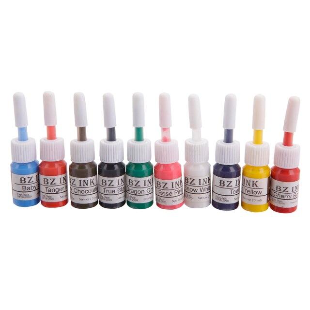 2016 Новый Профессиональный 10 Цвет Постоянный Яркий Комплект Чернил Татуировки Пигмента Комплект 5 МЛ/Бутылка Косметическая Питания