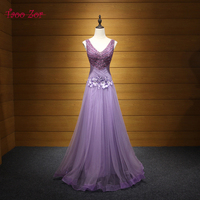 TaooZor Luxury Beaded Crystals V neck Purple Evening Dresses 2017 Classic Appliques Pleated Evening Party Gown Robe de Soiree