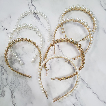 JUJIA Korea Gold Silvery Colour Simulated Pearl Hairbands for Women Hair Jewelry