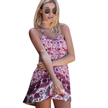2017 Hot Vestidos Casual Women Summer Dress 2017 Robe Retro Floral Boho Beach Dress Plus Size