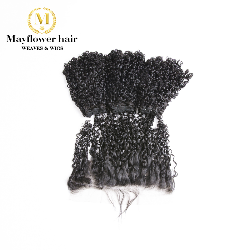 """Mayflower Funmi Hair Tiny Curl  2/3 Bundles With 13x4"""" Frontal Double Drawn Remy Hair Weft Natural Black 10-20"""" Mixed Length"""