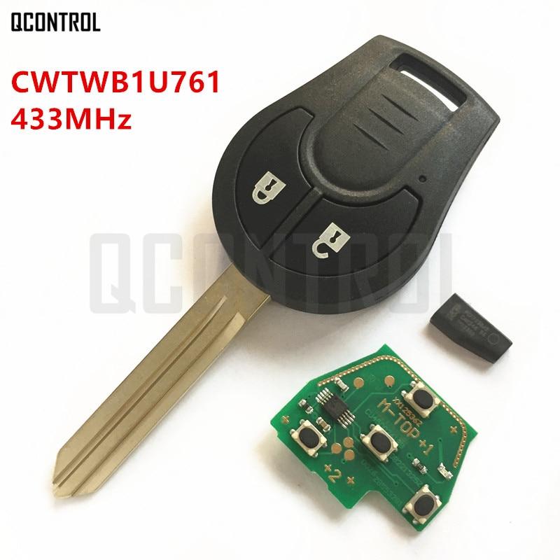QCONTROL Car Remote Key Fit for NISSAN CWTWB1U761 Juke March Qashqai Sunny Sylphy Tiida X-Trail 433MHz
