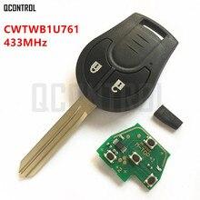 מפתח מרחוק מכונית QCONTROL מתאים לניסן Juke CWTWB1U761 מרץ Sylphy Tiida הקאשקאי סאני X trail 433 MHz