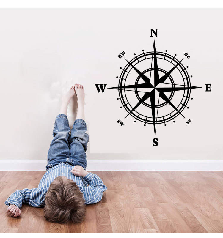 9048 Compass Wall Decal Nautical home decor 60*60cm removable wall decor for home bedroom decoration stickers free shipping