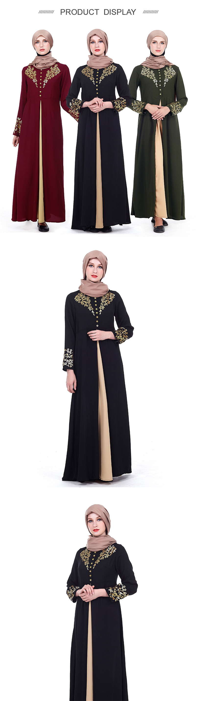 Gold Stamping Print Formal Muslim Women's Prayer Garment Arabic Caftan Dress Robe Longa Moslim Jurken Jubah Islamic Clothing