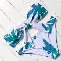 Swimwear Women Leaves Printed Bikini Padded Swimsuit Push Up Strapless Bikini Set Female Beachwear Vintage Bathing