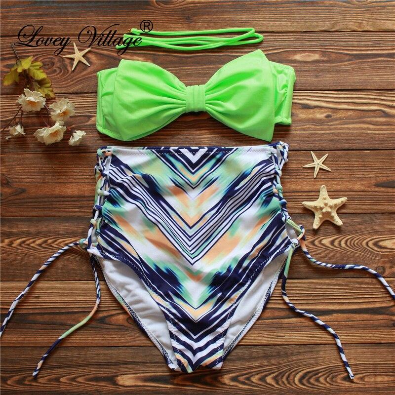 2016 Retro Pruhované Tankinis Top Plavky Dámské brazilské Sexy - Sportovní oblečení a doplňky