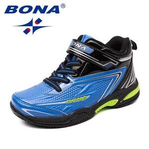 Image 3 - BONA zapatos informales con cordones para niños, zapatillas de suela plana sintética, a la moda para actividades al aire libre, cómodas