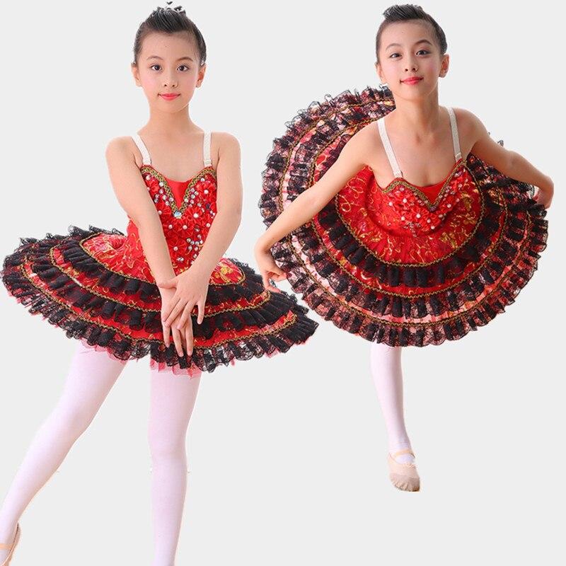 red black swan professional ballet tutu kids girls child ballet dance dress for girls ballet costume