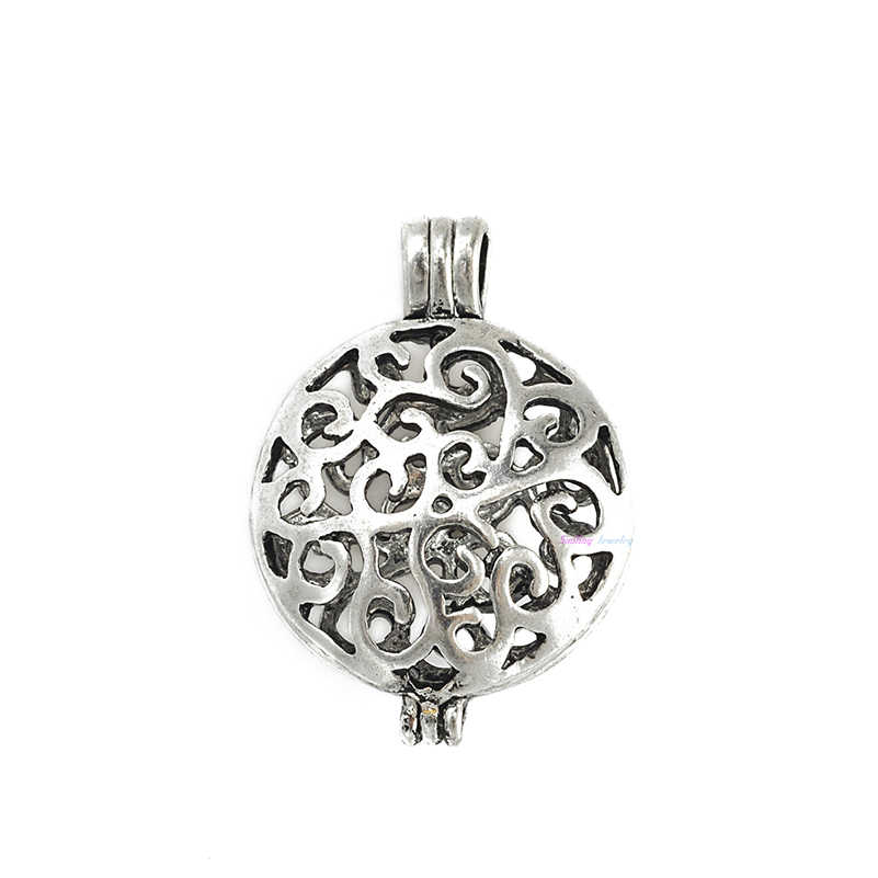 1pc 16mm Pearl Cage Sea Glass Round Filigree Silver Plated Copper Hollow Pendants Diffuser Necklace Locket For DIY Jewelry