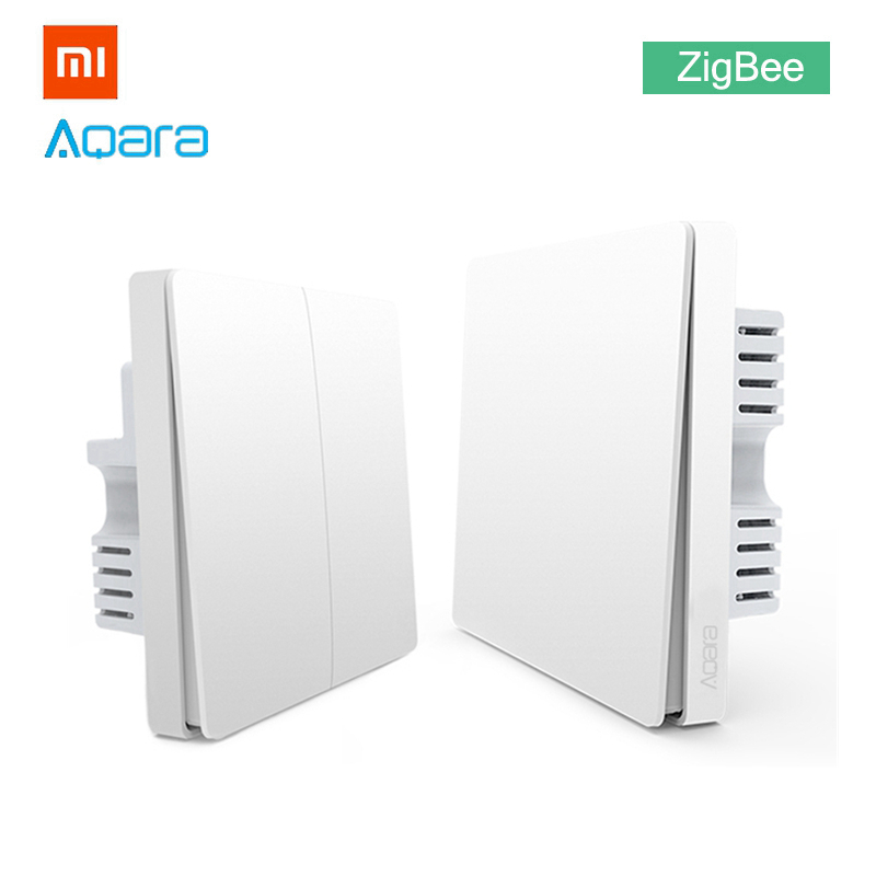 100% Quality Xiaomi Aqara Wall Light Switch Zigbee Neutral Version Single Double Button Key Smart Home For Mihome App Mijia Gateway Upgraded