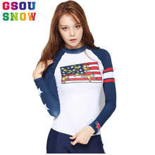 Gsou Snow Brand Beach Shirts Women Swimwear Tops Long Sleeve Rash Guard Swimwear Shirts Quick Dry Sunscreen Lady Diving Clothing(China)