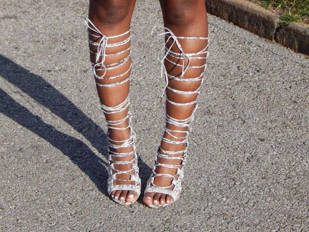 Lacent Sur Haute Femmes Clair Sexy Bottes Talons Imprimé Vente Hauts Sandale Gladiateur Découpes Serpent Robe Fixation Genou À Long awBIw4q