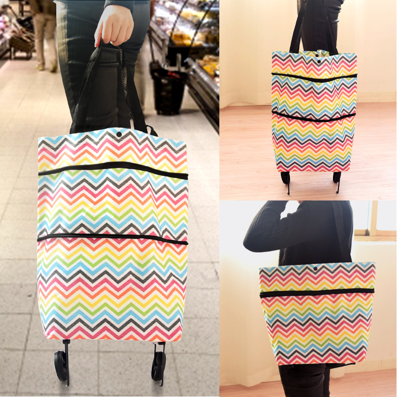 2019 High Capacity Shopping Food Organizer Trolley Bag On Wheels Bags Folding Portable Shopping Bags Waterproof Wear Resistant