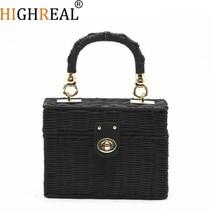 Beach Bags Box Rattan Bag Women Chians Straw Bag Small Bohemian Handbags Summer 2018 New Vintage Handmade Black Color E49