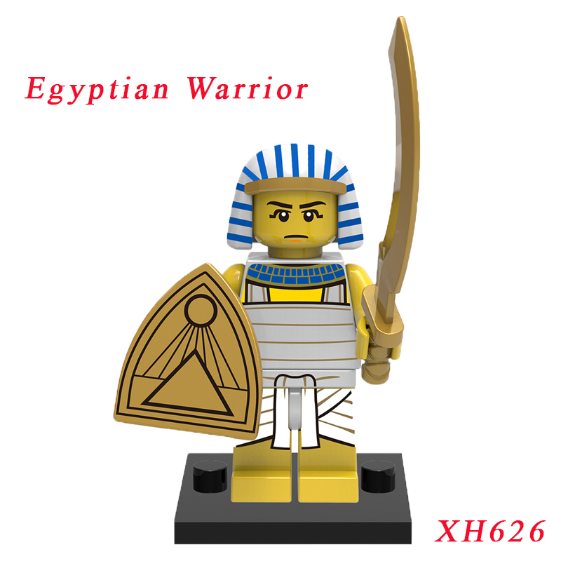 Pharaoh Mini Brick Single Sale Medieval Egyptian Warrior Figures Pharaoh Super Heroes Model Diy Building Blocks Toy For Children